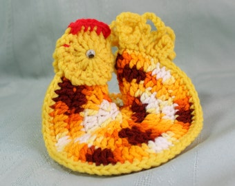 Hand Crocheted Vintage Hot Pad- Crazy Rooster, Chicken Pot Holder with googly eyes- bright orange, yellow, brown, white, red- retro 1970's