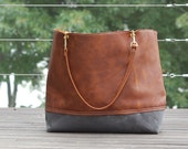 Large Rich Brown Leather Tote with Gray Waxed Bottom