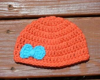 Bow Hat, Newborn Beanie, Baby Girl Hat, Infant Crochet, Orange Beanie, 6 Months, 12 Months, 3 Months Hat, Little Girls, Crochet Item, Babies