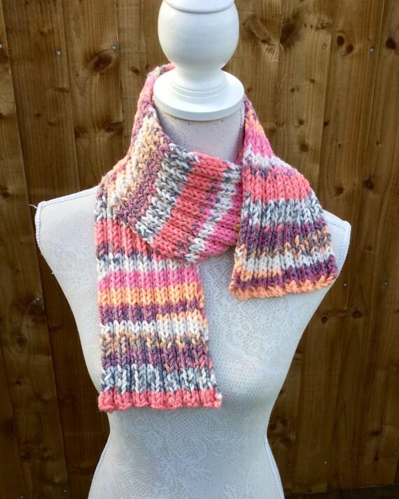 Chunky Knit Scarf-Neckwarmer-Colourful Pink Cream Grey-Super Soft Snug ...