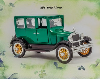 1926 Ford Model T Fordor Retro Classic Vintage Car Photo Art Print  11x14 Poster Wall Hanging Home Decor