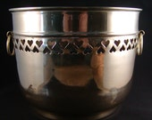 Vintage Solid Brass Planter / Vase with Heart Cutouts India 5-1/2 IN High x 7 IN Diameter