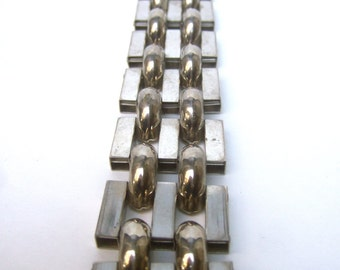 Sleek Industrial Wide Chrome Link Bracelet c 1970
