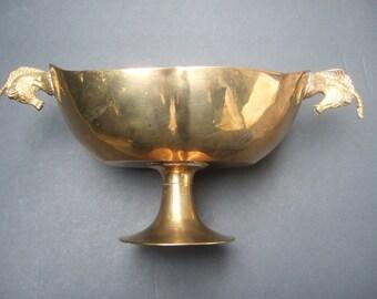 Exotic Brass Metal Unicorn Handle Decorative Dish c 1970