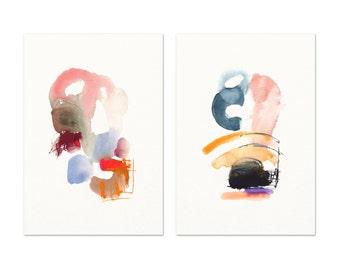 Blush & Indigo Modern Wall Art. Modern Abstract Art Print Set. Watercolor Art Prints. Set of Two Prints. Modern Living Room Art Prints.