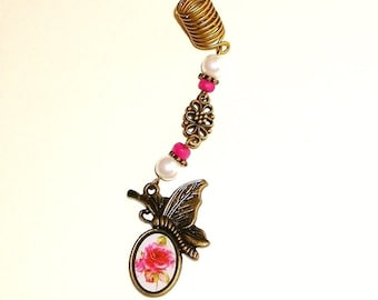 Dreadlock Jewelry - Antique Gold Butterfly Charm Loc Jewel
