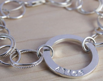 Personalised Silver Circles Bracelet - Sterling Silver