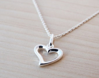 Little Silver Heart Charm Necklace - Sterling Silver