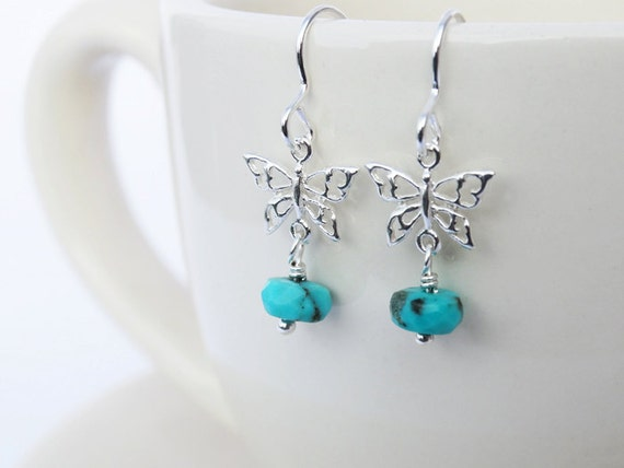 Silver Butterfly Earrings & Gemstones - Tanzanite, Topaz Or Turquoise - Sterling Silver