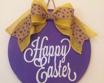 """18"""" Round Wooden """"Happy Easter"""" Door Sign / Wreath FREE SHIPPING"""