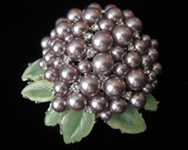 NOLAN MILLER Floral Brooch has Lavender Gray Pearls, Tiny Clear Rhinestones & Faux Jade Leaves.  Large.  Domed.