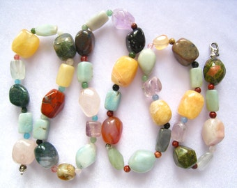 "29"" Long Chunky Mixed Stone Necklace has Semiprecious Polished Nuggets and Spacers. Aqua, Creamy Yellow, Greens, Lavender, Browns and more."