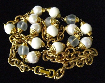"""CLEARANCE 30"""" Necklace made in the Style of 1970-80s European Couture Chain Style.  Pearl, White & Frosted Clear Beads Ratchet up the Bling."""