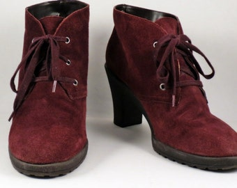 Womens Brown Suede Ankle Boots Size 11 Granny Punk Heels AEROSOLES