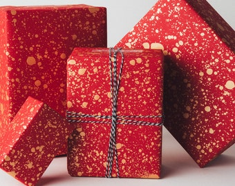 Gold Drops Gift Wrap | Red/Gold | 3 Sheets