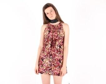 SALE - 70s PSYCHEDELIC Graphic Print Flower Power 60s Pop Art Ruffle Ascot Mini Dress
