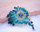 Peacock Brooch , sterling silver bridal brooch , Bridal accessories , Peacock colors , bridal jewelry , Wedding jewelry , Genuine Gemstones