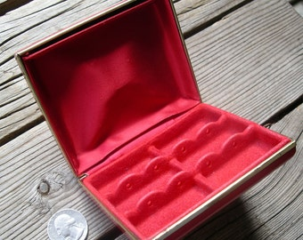 Vintage Pierced Earring Caddy - Red Jewelry Travel Case - Nose Navel Eyebrow Ring Carryall