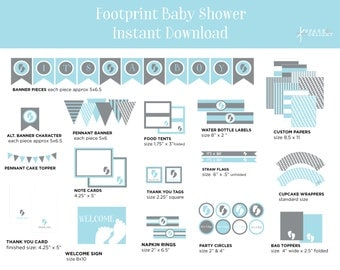 Printable Party Pack - Footprint Baby Shower - Footprint Theme - Boy Baby Shower - Dark Gray and Light Blue