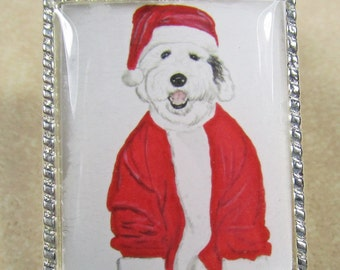 Old English Sheepdog Pendant - OES, Dulux Dog, Bobtail Puppy Pendant, Jewelry