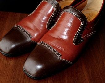 Vintage Italian Leather Dress Shoes Italian Designer Menswear Groomsmen Mod Wedding Shoes Oxfords Wingtip Gift Ideas Him Victorian Wedding