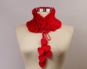 Crochet Collar Scarf, Cowl Scarf, Women Infinity Scarf,  Crochet Wrap, Crocodile Scarf, Women Neck Cowl, Winter Gift For Her, Red Collar Bib