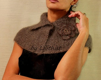 Knit Cape Poncho, Sweater Scarf, Brown Gold Glitter Capelet, Sweater Shrug, Winter Kid Mohair Cape Shrug, Knit Shoulder Shawl, Flower Brooch
