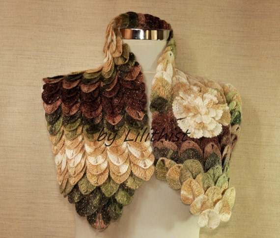 Fall Leaf Scarf Oversized Cowl Scarf Chunky Infinity Scarf Crochet Shawl Cape Shoulder Wrap Flower Scarf Fall Accessories Gift Idea For Her