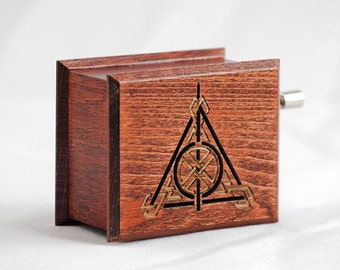 Harry Potter Deathly Hallows music box mahogany - soundtrack and design inspired handmade wooden music box