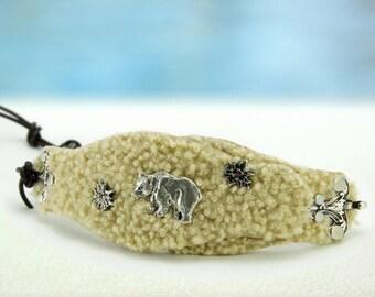 Grizzly... Leather Bracelet.... Lambskin Bavarian Style Bracelet  Original by OceanBead