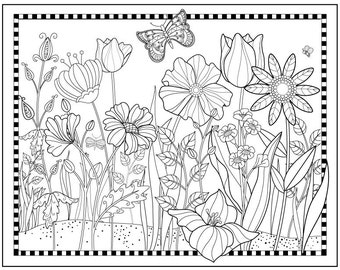 Printable Flower Garden Coloring PageFlowers To Color Magical GardenPretty Floral Butterfly Art Digital Download Fun