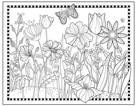 Printable flower garden coloring pageflowers to color for Flower garden coloring page