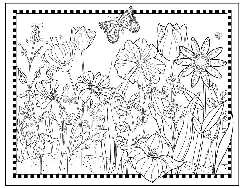 Printable flower garden coloring page flowers to color for Flower garden coloring pages printable