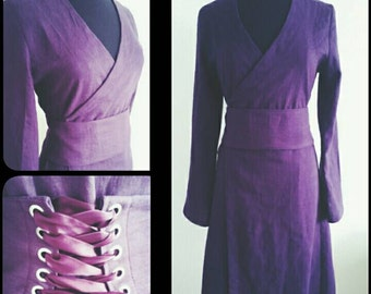 MADE TO ORDER:custom colours, linen pagan Avalon gown with waist band dress druid historical priestess woodland fairy witch goth wicca