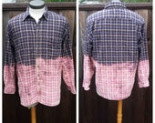 Upcycled Clothing, Dip Dyed Navy, Burgundy and Khakie Plaid Shirt, Bleach Dyed, Reclaimed Button-up Shirt, Men's Large