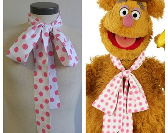 Upcycled Clothing Fozzie Bear Bow Tie, The Muppets,  Pink and White Polka Dot Neck Tie, Handmade Costume Accessory