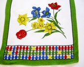Lovely German Vintage Easter Spring Printed Table runner with Eggs and Flowers from the 70ies, Retro Iconic Home Decor for Easter