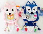 Twin Mini Tag Fox Baby Blanket Pacifier Binky Animal lovey Toy Friends