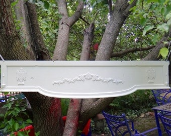 Architectural Salvage, White Architecture, Applique, Repurposed Wood, Urn, Wooden Wall Hanging, Architectural Piece, Accent Piece, Rustic