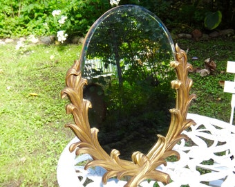 Mirror, Gold Mirror, Oval Mirror, Gold Oval Mirror, Mirror with Easel, Regency, Boudoir, Dressing Mirror, Makeup Mirror, Faux Bois, 1940s