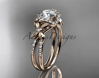 "14kt rose gold diamond floral wedding ring, engagement ring with a ""Forever One"" Moissanite center stone ADLR140"