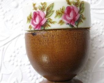Wooden Egg Cup Porcelain With Roses 1960s Nevco Japan Breakfast Cup Cottage Chic Easter Cup
