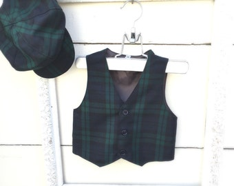 outfit for boys, Plaid green boys VEST and HAT, vest for boys, ring bearer vest, photo prop for boys, golf oufit