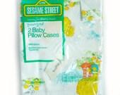 Vtg 1970s Sesame Street Baby Pillow Cases Set Big Bird Grover Toddletime