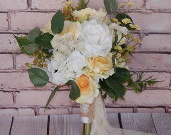Boho Bouquet, Vintage Bouquet, Garden Bouquet, Wedding Bouquet, Bridal Bouquet, Silk Bridal Bouquet- Ready To Ship