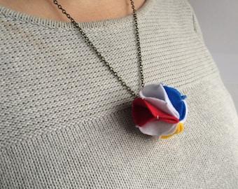Beach ball - Small Felt Pom Pom Statement Necklace