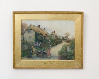 Antique Original Large Framed English Watercolor Godshill Village Isle of Wight Painting