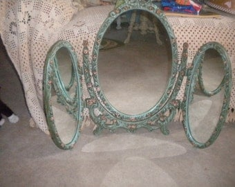 Amazing RARE Vintage OOAK Tri -Fold Swivel Mirror, Hollywood Regency, French, French Country, Vanity Mirror