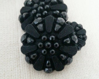 """3 Black Vintage Buttons - High motif, Victorian style, 25mm-15mm (1""""- 5/8"""")"""
