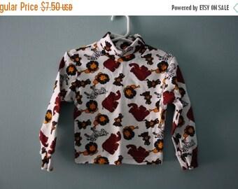 ON SALE Vintage safari animal print turtleneck sweater / cute animal top / Baby Girl or Boy infant to 12 months
